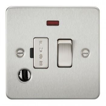 1 gang 20A DP switch complete with neon and flex outlet Fused - Brush Chrome