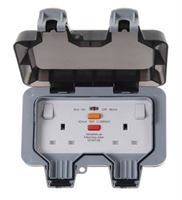 2 Gang RCD switched socket IP66 latching
