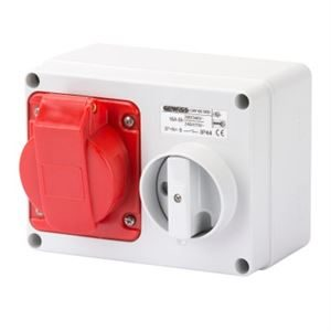 16A 400V IP44 5 pin isolator socket red
