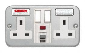 2 Gang Socket RCD Metal Clad active non Latching