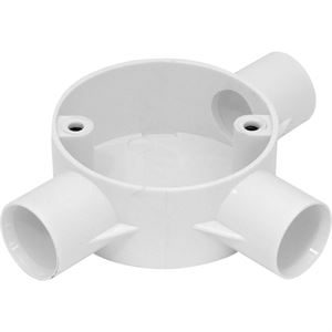 3-way 20mm conduit tee box white plastic no lid