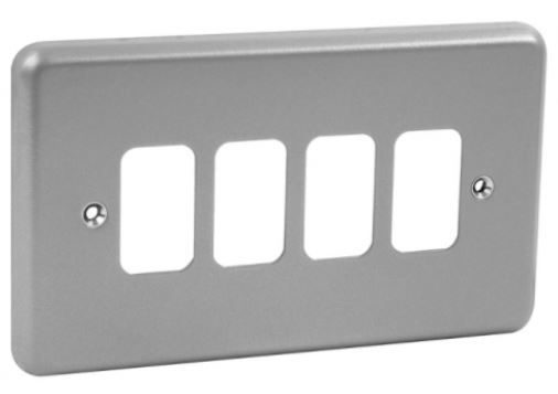 Grid Switch - Surface Mtd Metal Clad 4-Gang Front Plate-MK