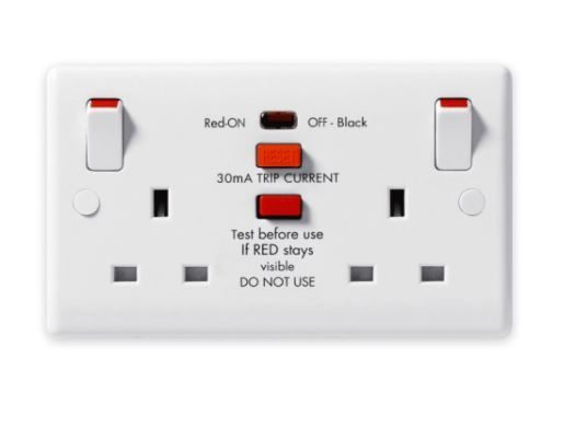 2 Gang Socket RCD White moulded Passive Latching