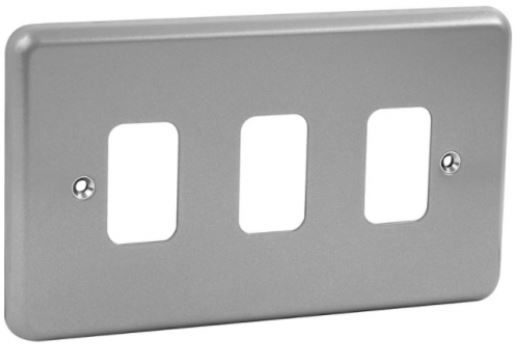 Grid Switch -  Metal Clad 3-Gang Front Plate-MK