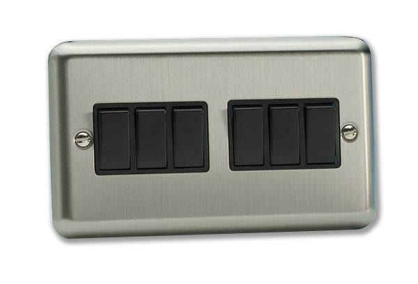 6 gang 10A 2 way SP Switch - Brushed Chrome