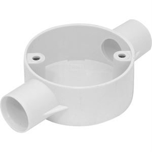 2-way 20mm conduit angle box white plastic no lid