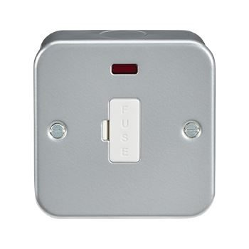 Metal Clad 13A Switched Fused Spur c/w Neon