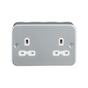 Metal Clad Double Unswitched Socket 13A DP