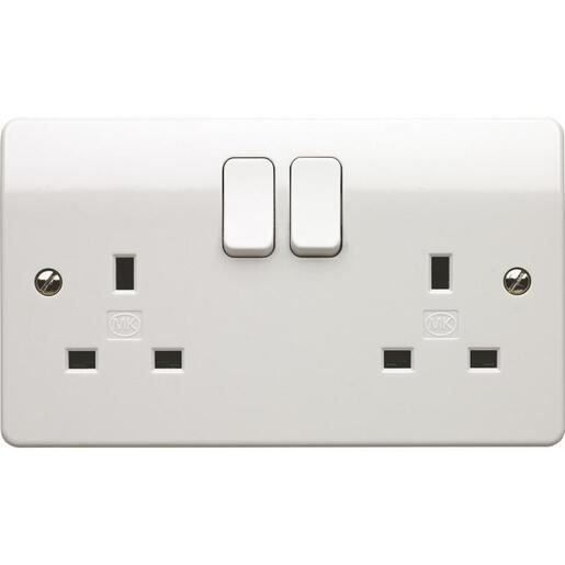 2 gang socket 13A switched-White-MK